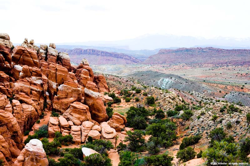 Fiery Furnace with Salt Valley in background, Arches Nat'l Park, Moab, Utah