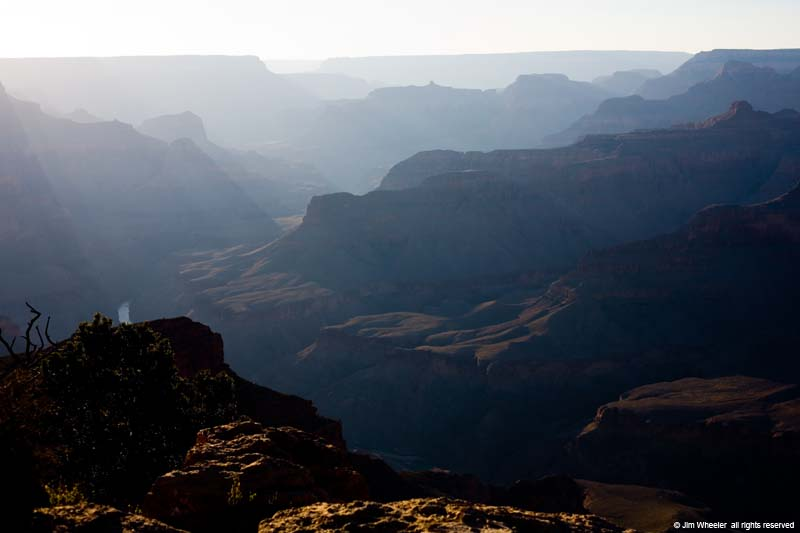 Grand Canyon at sunset with Colorado River, view from Hopi Point on the South Rim