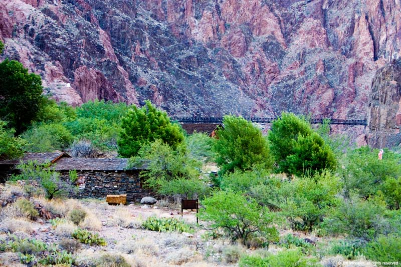Mule stables, South Kaibab Trail bridge near Phantom Ranch at the bottom of Grand Canyon, shot @ 2625 feet